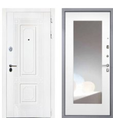 Дверь Интекрон Брайтон/Зеркало ФЛЗ-М белая матовая