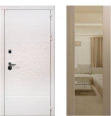 Дверь ЗД Дэко белый снег беленый дуб Макси зеркало