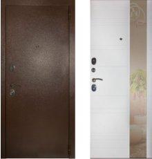 Дверь ЗД Эталон 3к медь панель Лира зеркало Софт белый