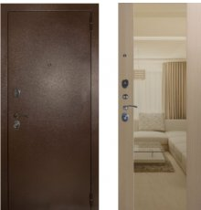 Дверь ЗД Эталон 3к медь панель Большое зеркало Беленый дуб