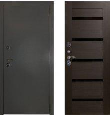 Дверь ЗД Эталон 3к алюминий панель царговая СБ-1 Орех рифленый