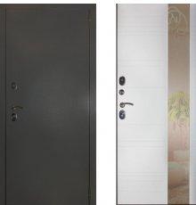 Дверь ЗД Эталон 3к алюминий панель Лира зеркало Софт белый