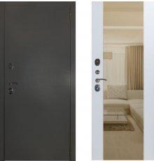 Дверь ЗД Эталон 3к алюминий панель Большое зеркало Софт белый