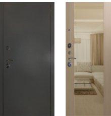 Дверь ЗД Эталон 3к алюминий панель Большое зеркало Софт беленый дуб