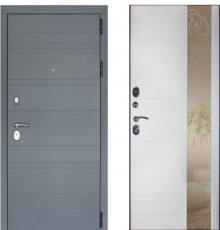 Дверь ЗД Лира Софт графит панель Лира зеркало Софт белый