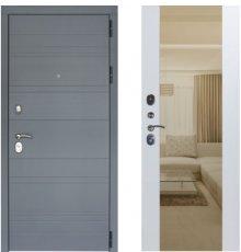 Дверь ЗД Лира Софт графит панель Большое зеркало Софт белый