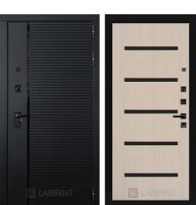 Дверь Лабиринт PIANO 01 — Беленый дуб, стекло черное