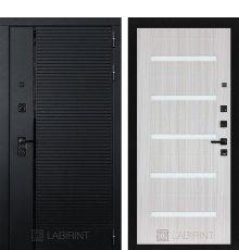 Дверь Лабиринт PIANO 01 — Сандал белый, стекло белое