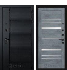 Дверь Лабиринт PIANO 20 — Бетон темный, зеркальные вставки