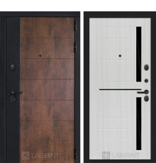 Дверь Лабиринт ТЕХНО 02 — Сандал белый, стекло черное