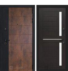 Дверь Лабиринт ТЕХНО 02 — Венге, стекло белое