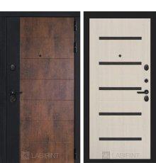 Дверь Лабиринт ТЕХНО 01 — Беленый дуб, стекло черное