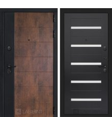 Дверь Лабиринт ТЕХНО 01 — Венге, стекло белое