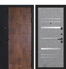 Дверь Лабиринт ТЕХНО 20 — Бетон светлый, зеркальные вставки