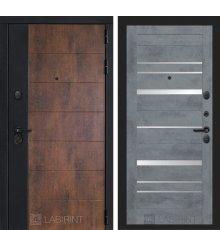Дверь Лабиринт ТЕХНО 20 — Бетон темный, зеркальные вставки