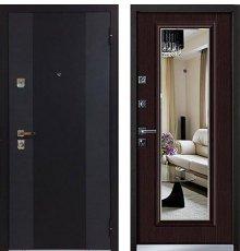 Дверь Бульдорс-44 конструктор, Черный шелк, Н-0Ларче темный, Т-5 (зеркало) фото