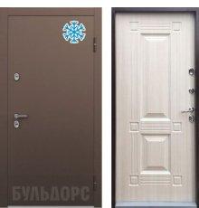 Дверь Бульдорс ТЕРМО-1 Букле шоколад  / дуб крем ТВ-2 хром