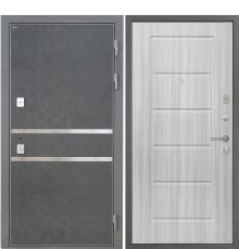 Дверь Интекрон Неаполь Штукатурка графит  Сандал белый ФЛ-39