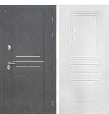 Дверь Интекрон Сенатор Лофт Штукатурка графит Белая матовая ФЛ-243-М