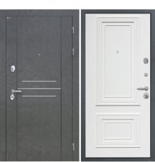 Дверь Интекрон Сенатор Лофт Штукатурка графит Сан Ремо 1 RAL 9003